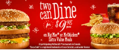 McDonalds Canada Promotions: Two Can Dine, Big Mac or