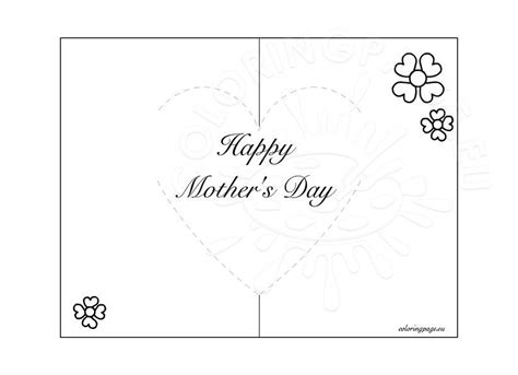 Mother's Day Pop-Up Card – Coloring Page